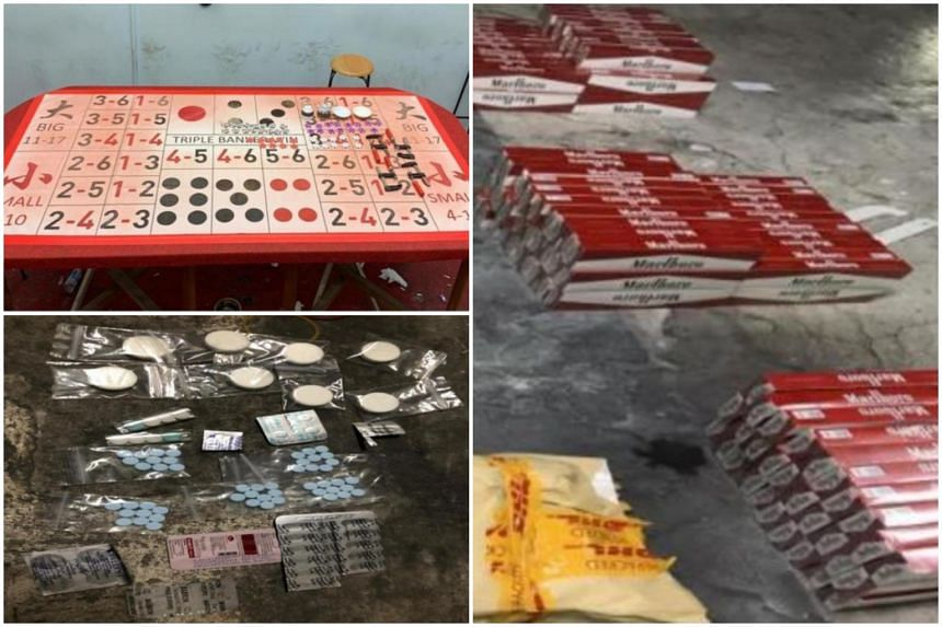 (Clockwise from top left) Gambling-related paraphernalia, contraband cigarettes and illegal medicines were seized.
