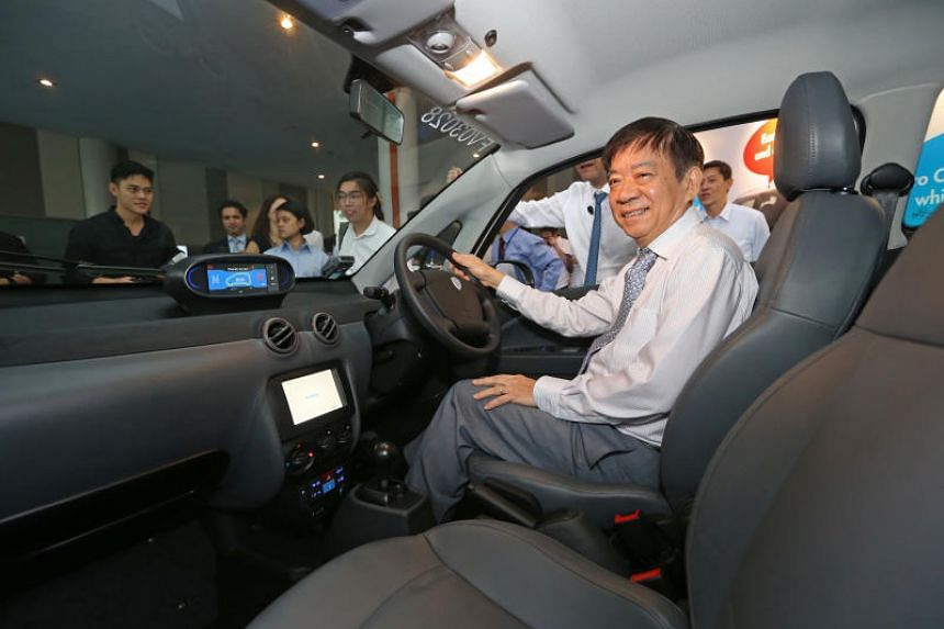 Transport Minister Khaw Boon Wan at the launch of BlueSG, Singapore's first electric-vehicle car-sharing programme, on Dec 12, 2017.