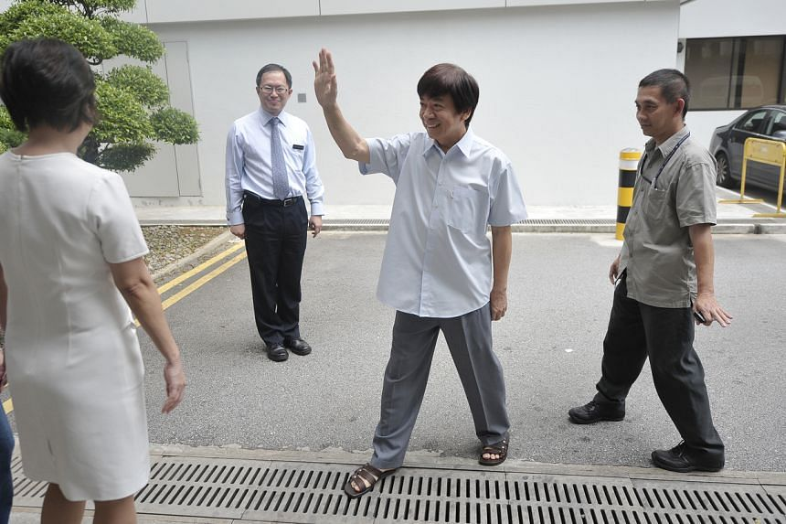 Mr Khaw being discharged from the National Heart Centre on May 14, 2010, after undergoing open-heart surgery.