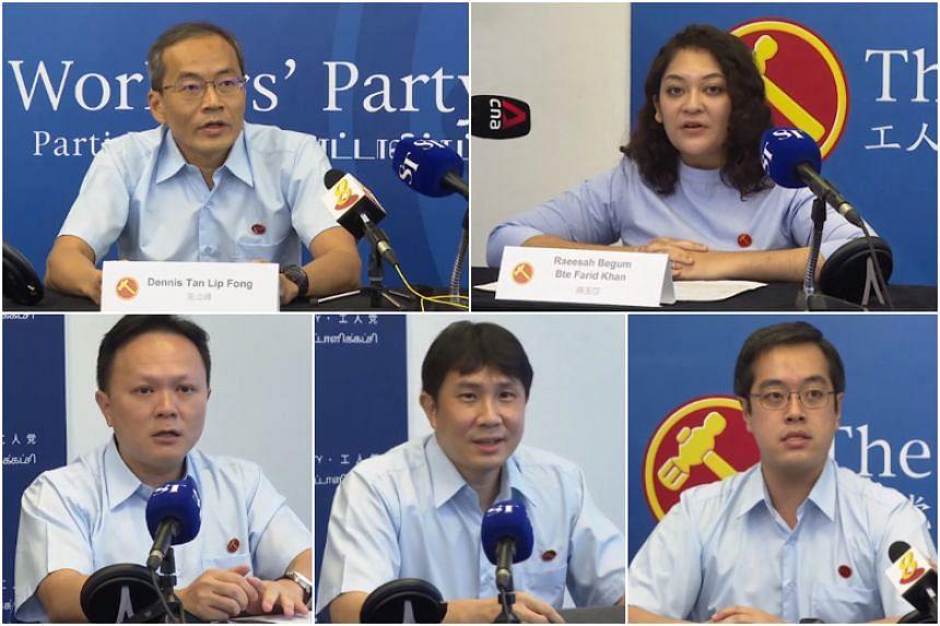 The five candidates unveiled: (Clockwise from top left) Mr Dennis Tan Lip Fong, Ms Raeesah Begum Farid Khan, Mr Ron Tan Jun Yen, Mr Jamus Lim and Mr Dylan Ng Foo Eng.