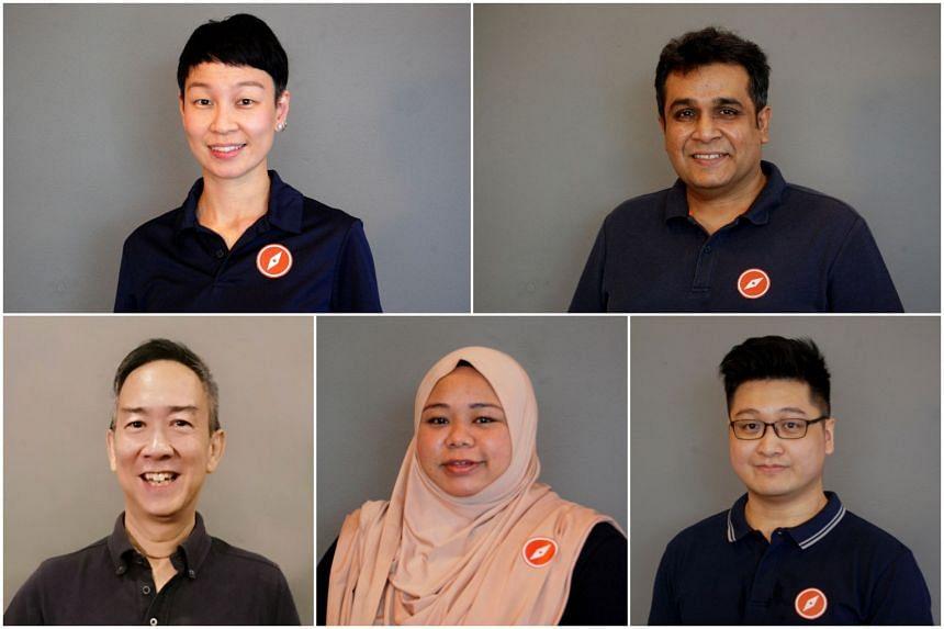 (Clockwise from top left) Ms Michelle Lee, Mr Ravi Philemon, Mr Nicholas Tang, Ms Liyana Dhamirah and Mr Alec Tok.