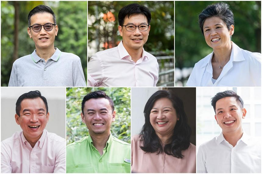 (Clockwise from top left) Mr Raymond Lye, Mr Derrick Goh, Ms Poh Li San, Mr Alvin Tan, Ms Yeo Wan Ling, Dr Wan Rizal Wan Zakariah and Mr Eric Chua.