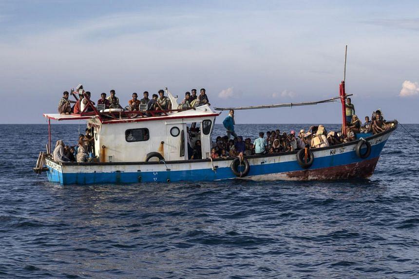Rohingya Muslims on the water off Lhoksukon, Indonesia, on June 24, 2020.