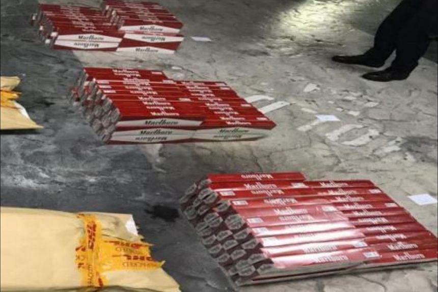 Close up of seized contraband cigarettes.
