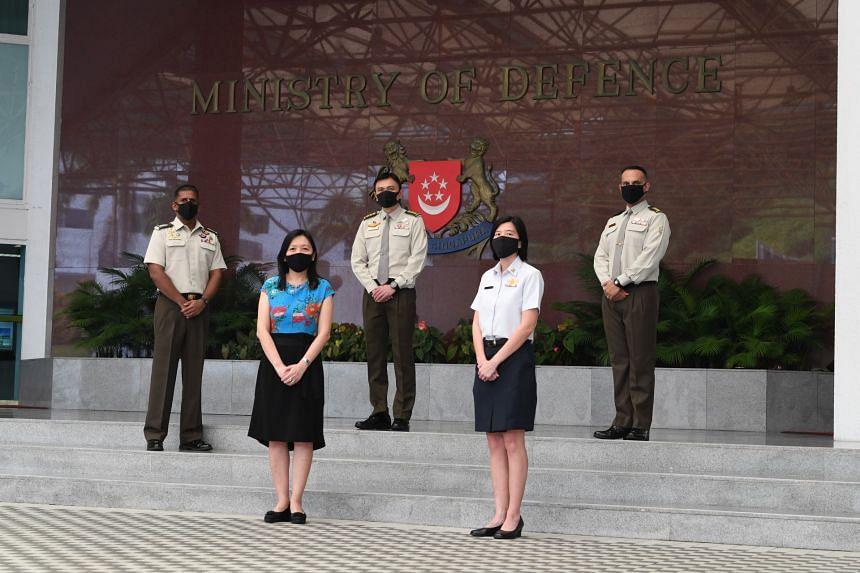 (Clockwise, from top left) MWO Maheswaran Franklin Miranda, Col Terry Tan, Senior Lt-Col Mohamed Feroz, ME5 Ang Lay Fang and DX15 Vivian Boh.