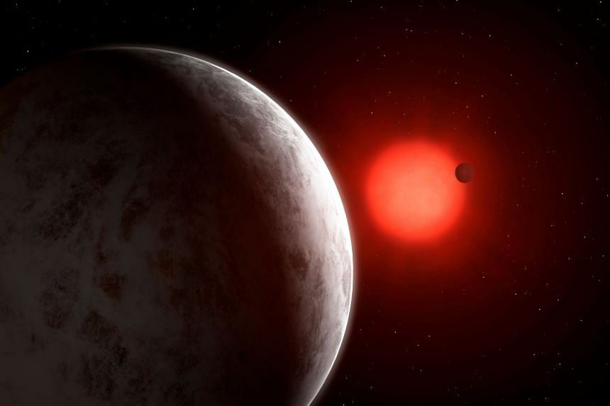 The multiplanetary system of newly discovered super-Earths orbiting nearby red dwarf star Gliese 887 is seen in this artist's impression.