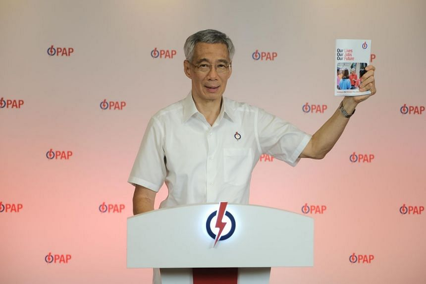 Prime Minister Lee Hsien Loong launched the ruling party's campaign manifesto and slogan, Our Lives, Our Jobs, Our Future, on June 27, 2020.