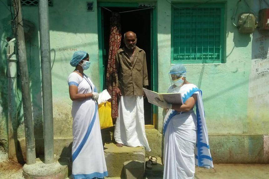 Health workers in Hyderabad, Telangana state.