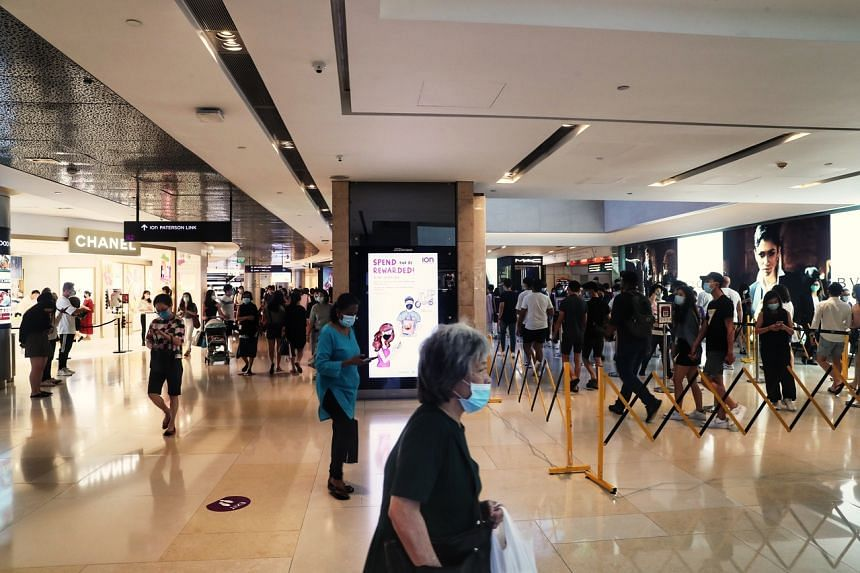Queues seen at Ion Orchard on June 27, 2020.