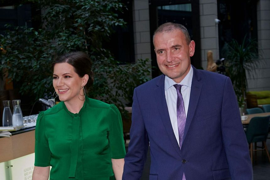 Iceland President Gudni Johannesson (right) and his wife, Ms Eliza Reid, arriving at a hotel in the Reykjavik on June 27, 2020.