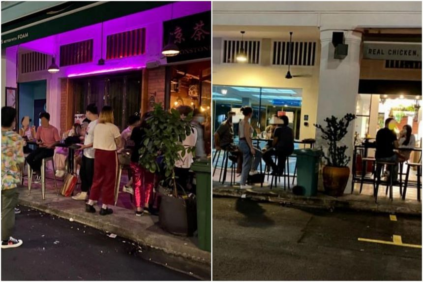 Eatery Chico Loco and Moonstone bar (left) were fined $1,000 each for failing to comply with safe management measures.