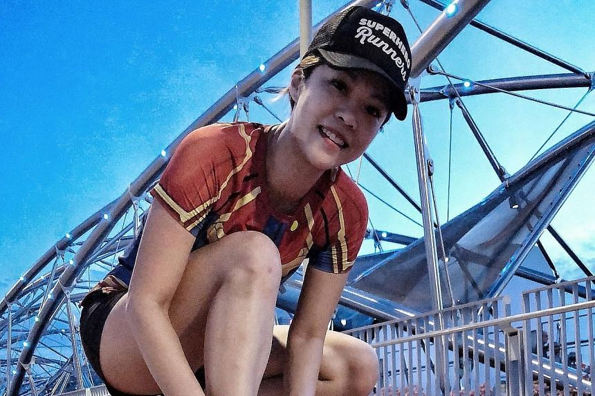 """Ms Cherlynn Sim has clocked up more than 30km under #SGOutrunCovid in the two weeks or so since the initiative's launch. She said: """"I joined because I am glad that my running mileage will go to a good cause."""""""