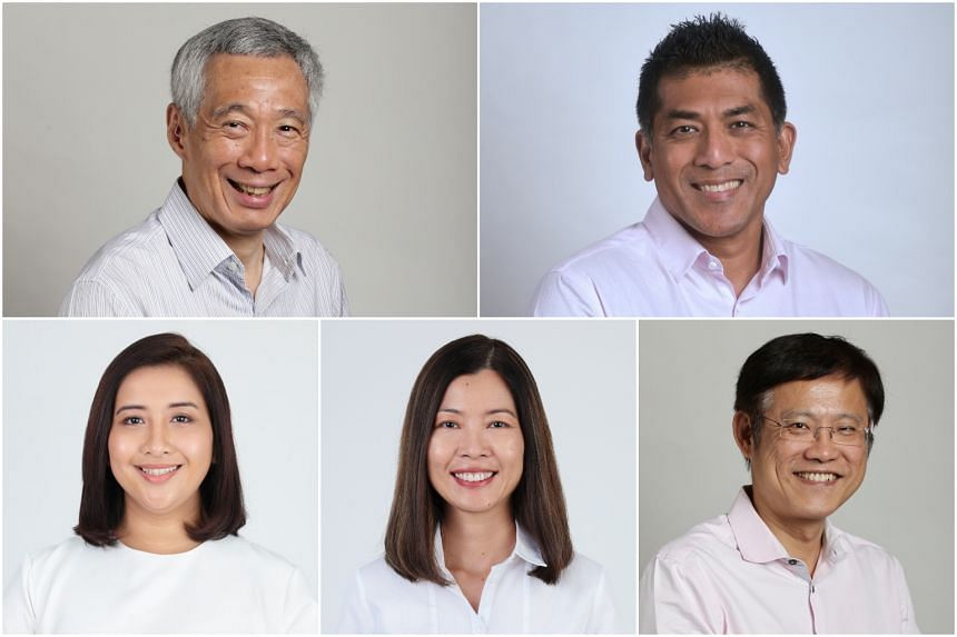(Clockwise from top left) PM Lee Hsien Loong, Mr Darryl David, Mr Gan Thiam Poh, Ms Ng Ling Ling and Ms Nadia Ahmad Samdin.