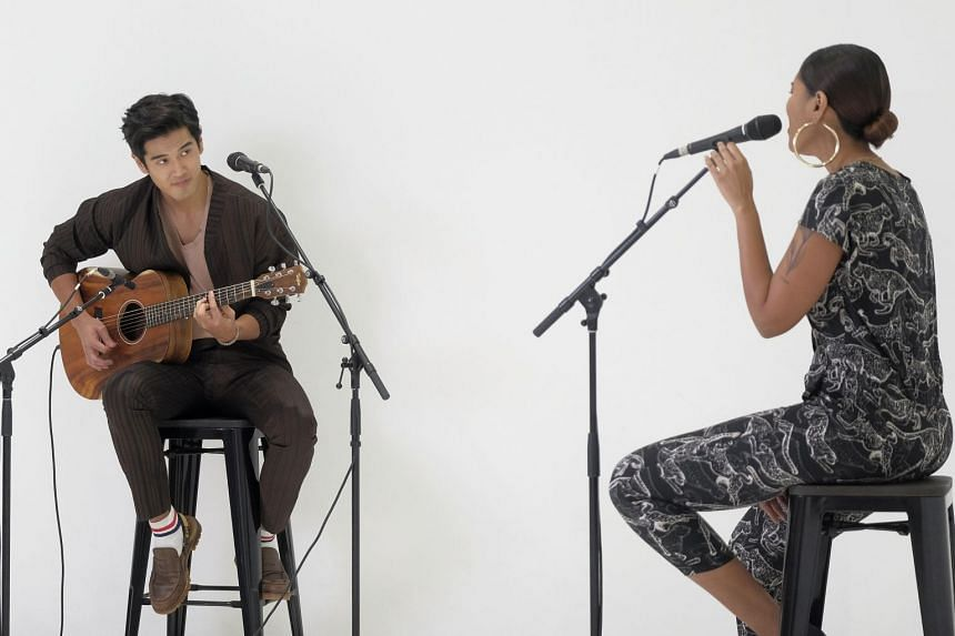 Singers Nathan Hartono (left) and Abby Simone recording a song for the ChildAid 2020 concert at NoonTalk Studio, on June 18, 2020.