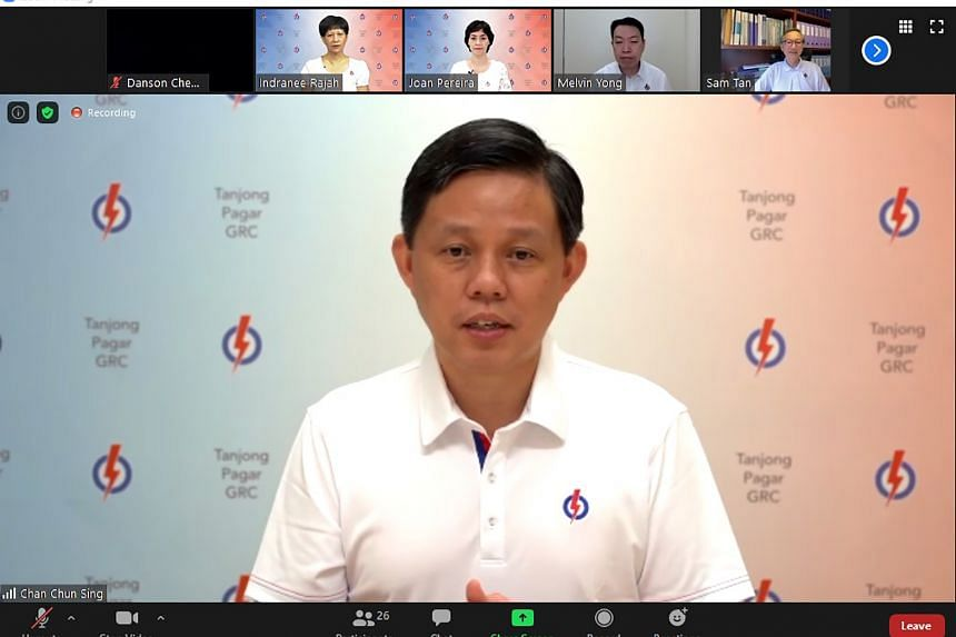 Trade and Industry Minister Chan Chun Sing during a Zoom video conference to unveil the PAP candidates for Tanjong Pagar GRC.
