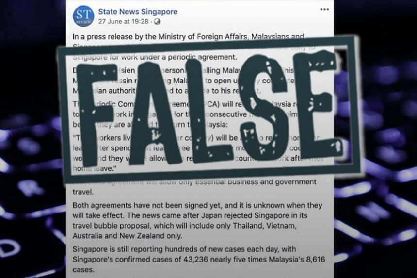 The State News Singapore Facebook page made false statements of fact in a post published on June 27, 2020.