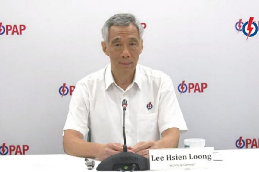 PM Lee Hsien Loong speaking at a virtual press conference to introduce candidates in Ang Mo Kio GRC, on June 29, 2020.