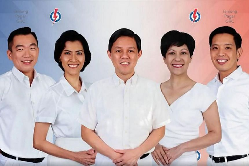 Trade and Industry Minister Chan Chun Sing (centre), with other PAP candidates for Tanjong Pagar GRC (from left) Mr Eric Chua, Ms Joan Pereira, Minister in the Prime Minister's Office Indranee Rajah, and Mr Alvin Tan.