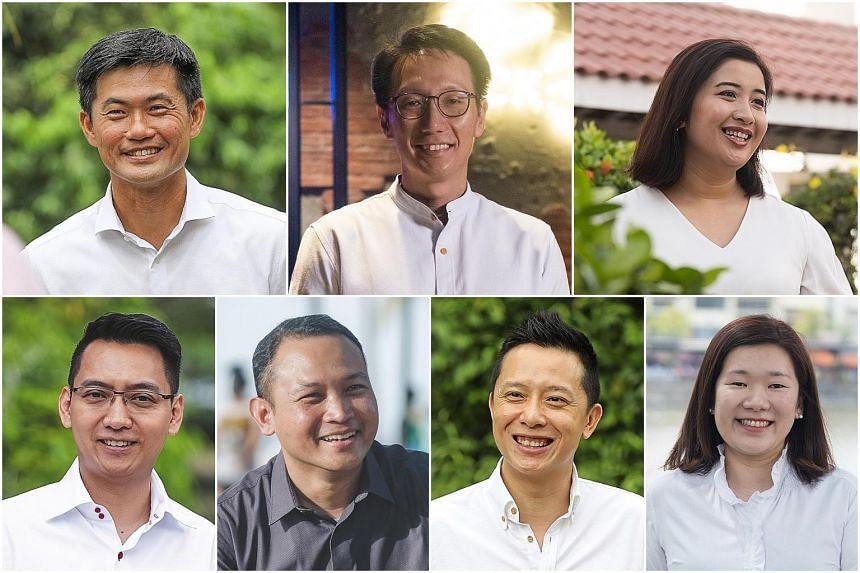 (Clockwise, from top left) Desmond Tan Kok Ming, Edward Chia Bing Hui, Nadia Ahmad Samdin, Hany Soh Hui Bin, Yip Hon Weng, Mohd Fahmi Aliman and Don Wee Boon Hong.