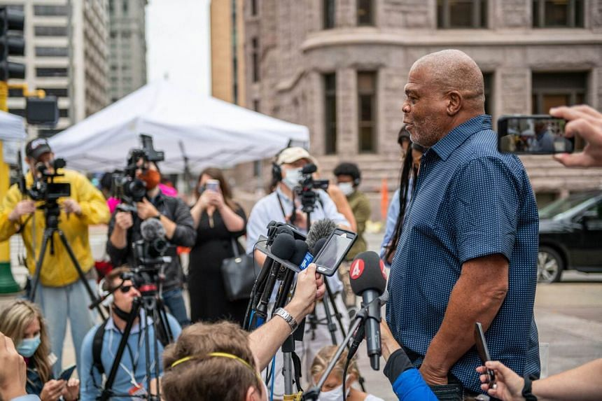 Selwyn Jones, uncle of George Floyd, speaks with reporters in front of the Hennepin County Public Safety Facility in Minneapolis on June 29, 2020.