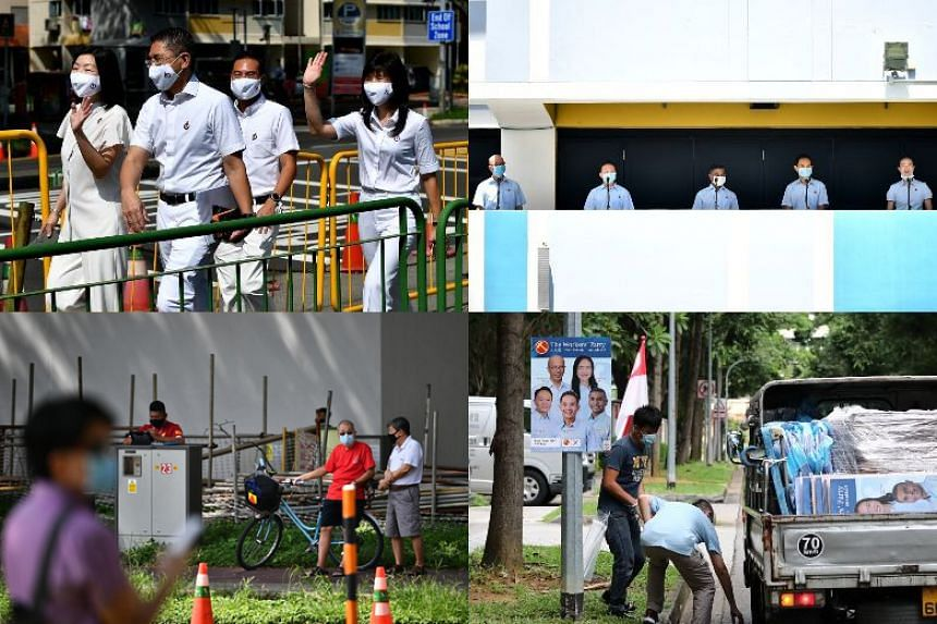 (Clockwise from top left) The People's Action Party and Workers' Party teams for East Coast GRC at the St Anthony's Canossian Primary School nomination centre; WP campaign posters being put up; and onlookers opposite St Anthony's Canossian Primary Sc