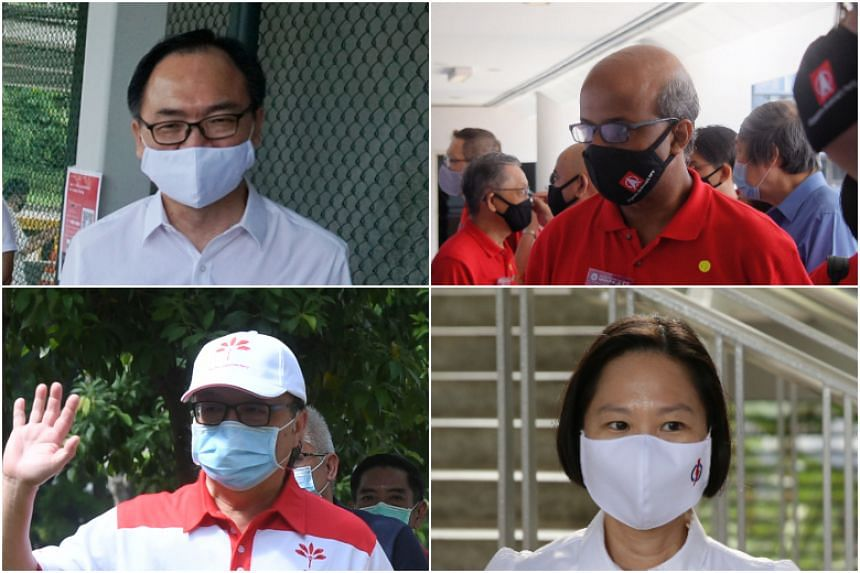 (Clockwise from top left) The PAP's Mr Liang Eng Hwa and SDP's Professor Paul Tambyah are contesting Bukit Panjang SMC, while the PAP's Ms Gan Siow Huang and PSP's Dr Ang Yong Guan are contesting Marymount SMC.