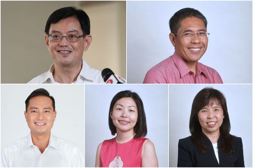 (Clockwise from top left) DPM Heng Swee Keat, Senior Minister of State for Defence and Foreign Affairs Maliki Osman, Ms Jessica Tan, Ms Cheryl Chan and new candidate Tan Kiat How.