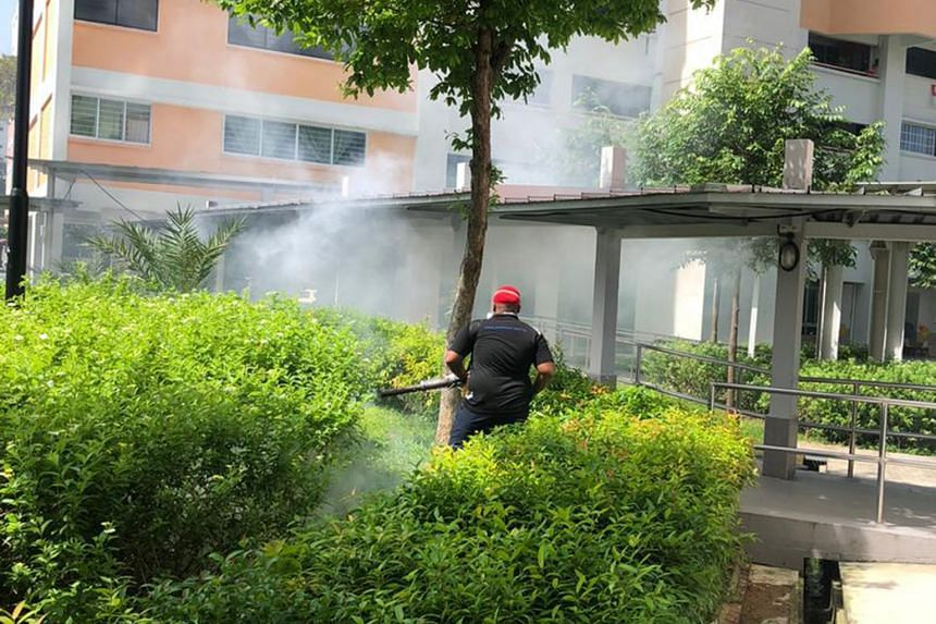Mosquito fogging being carried out in Potong Pasir. The constituency is one of the worst hit, with several active dengue clusters including four of the large ones where more than 100 people have been infected. PHOTO: POTONG PASIR CCC