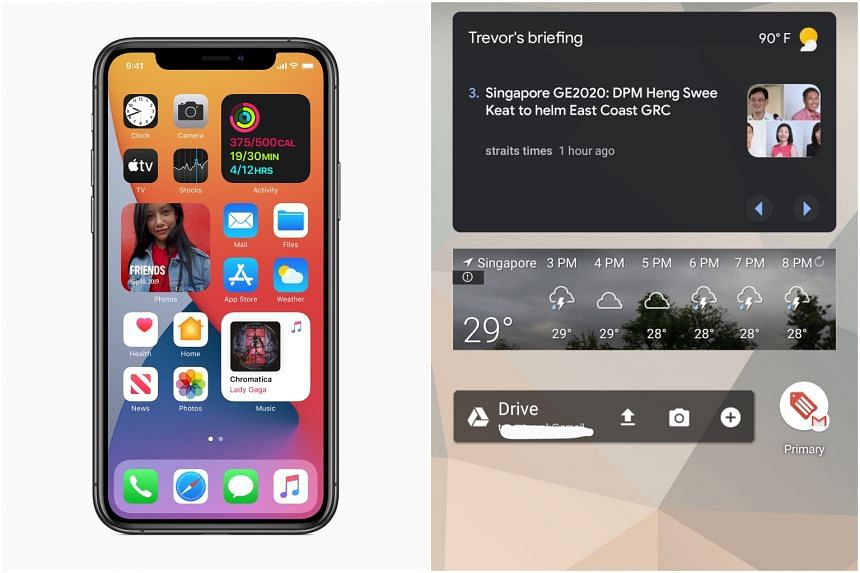 Apple iOS 14 (left) and Android 11 will power the new smartphones of Apple and Google respectively.