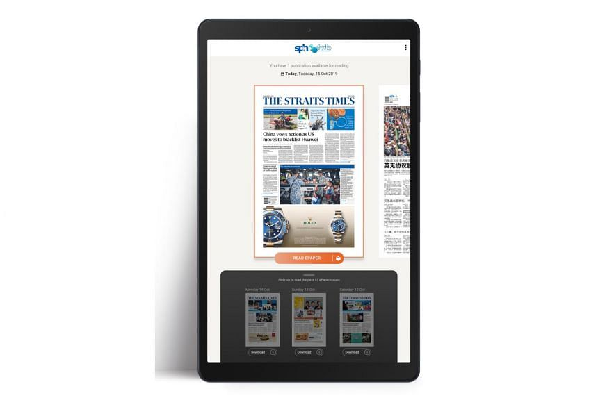 The Straits Times News Tablet offers the convenience of reading traditional print papers in a digital format.