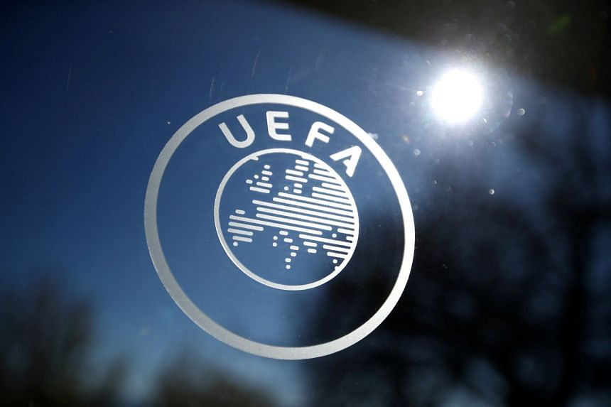 A general view of the Uefa logo at Uefa headquarters in Nyon, Switzerland.