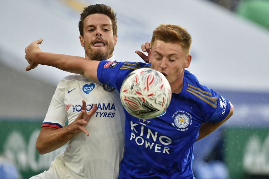 Leicester's Harvey Barnes (right) in action with Chelsea's Cesar Azpilicueta on June 28, 2020.