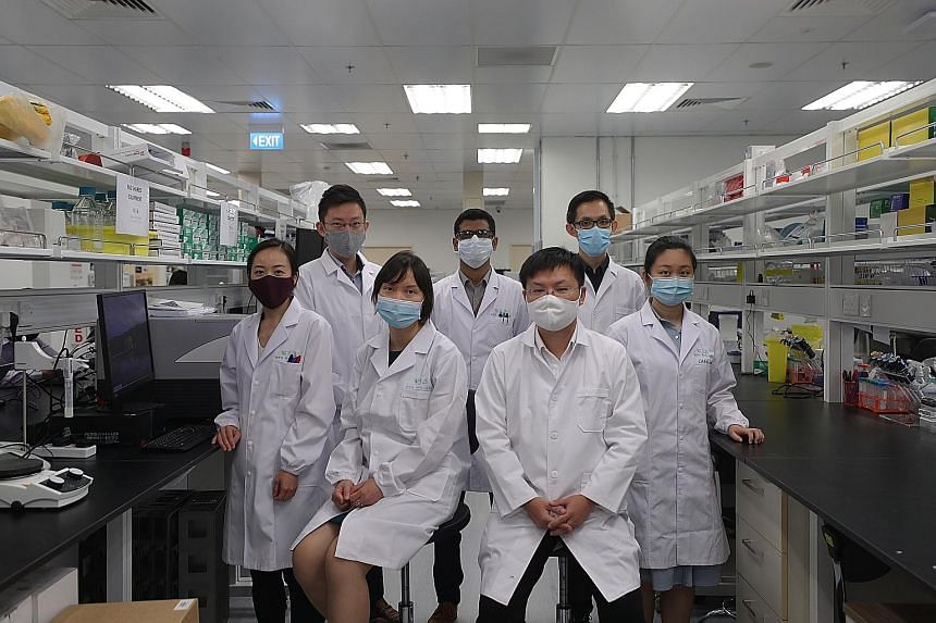 (From left) Dr Yumi Kawamura, Dr Ronne Yeo, Dr Minh Le, Dr Muhammad Waqas Usman Hingoro, Mr Lin Xiangqian, Mr Dean Lee Zi Yang and Dr Carol Wang Xin of Carmine Therapeutics, a gene therapy company that was formed last year.