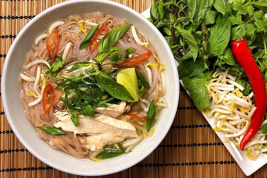 The Vietnamese-style chicken noodle soup is wholesome and flavourful, with broth made with daikon and kampung chicken, and brown rice noodles.