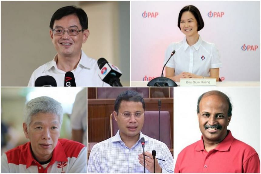 (Clockwise from top left) DPM Heng Swee Keat, PAP new face Gan Siow Huang, SDP's Dr Paul Tambyah, Minister for Social and Family Development Desmond Lee and PSP's Mr Lee Hsien Yang.