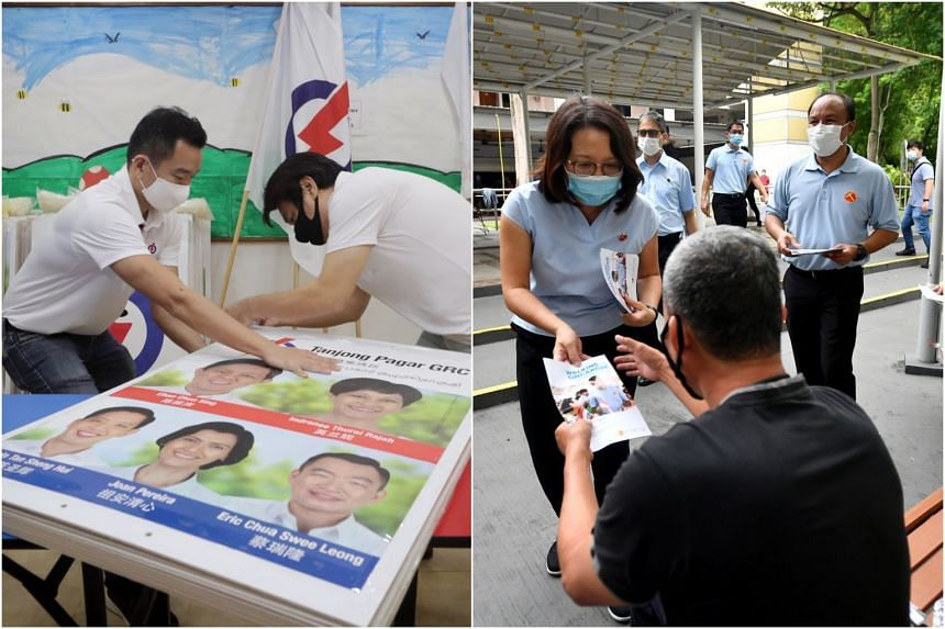 PAP candidate Eric Chua (left) and a volunteer helping with wooden boards for Nomination Day and Workers' Party's candidates (right) Sylvia Lim and Muhamad Faisal Manap interacting with residents.