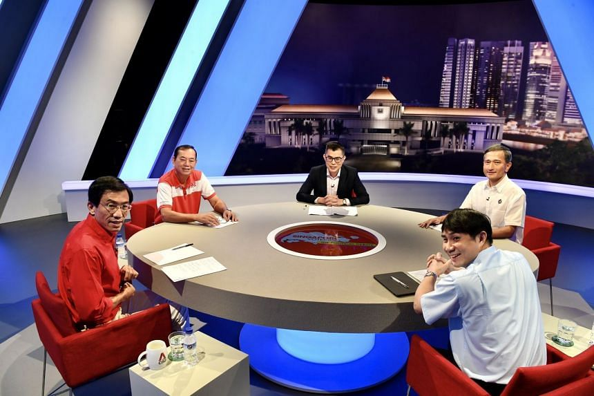 Taking part in the debate are (clockwise, from left)  SDP's Dr Chee Soon Juan, PSP's Francis Yuen,.moderator Jamie Ho, PAP's Dr Vivien Balakrishnan, and WP's Jamus Lim.