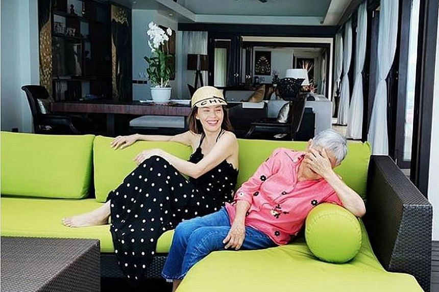 Zoe Tay posted a photo of herself sharing a laugh with her stepmother, Madam Wong Pong Chin, wishing her happy birthday on Tuesday.