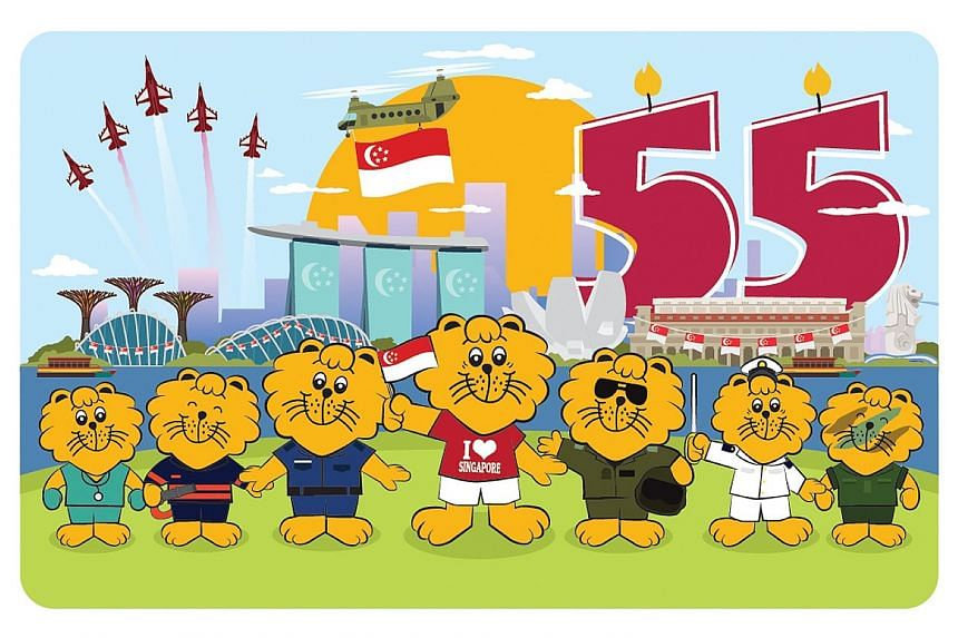 The ez-link cards commemorating Singapore's 55th birthday come in two sets of five designs in total. They feature Singa the Lion at prominent local landmarks and volunteers offering assistance in the community. PHOTOS: EZ-LINK