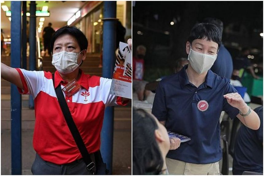 Progress Singapore Party candidate Gigene Wong (left) holds up the party's fliers near Bukit Gombak MRT station, while Red Dot United chairman Michelle Lee speaks to residents at a coffee shop in Clementi on July 1, 2020.