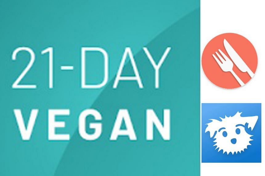21-Day Vegan Kickstart (left), for those who want to try a plant-based diet; while MyPlate (top, right) offers calorie counts for each meal and reduces the calorie limit on a weekly basis, to achieve or maintain a desired weight. For the Down Dog app