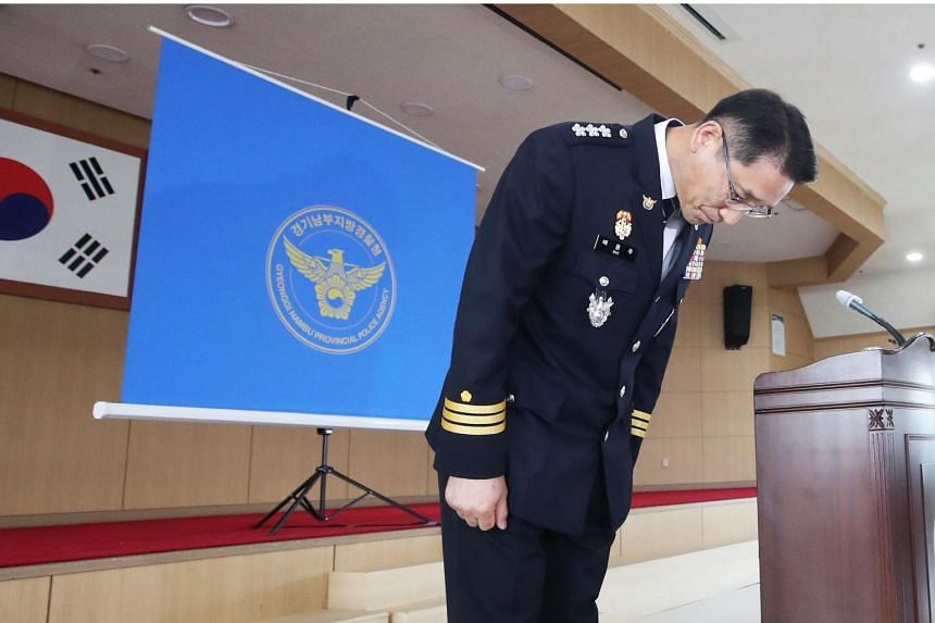 Provincial police chief Bae Yong-ju bows as he apologised to victims' families, on July 2, 2020.