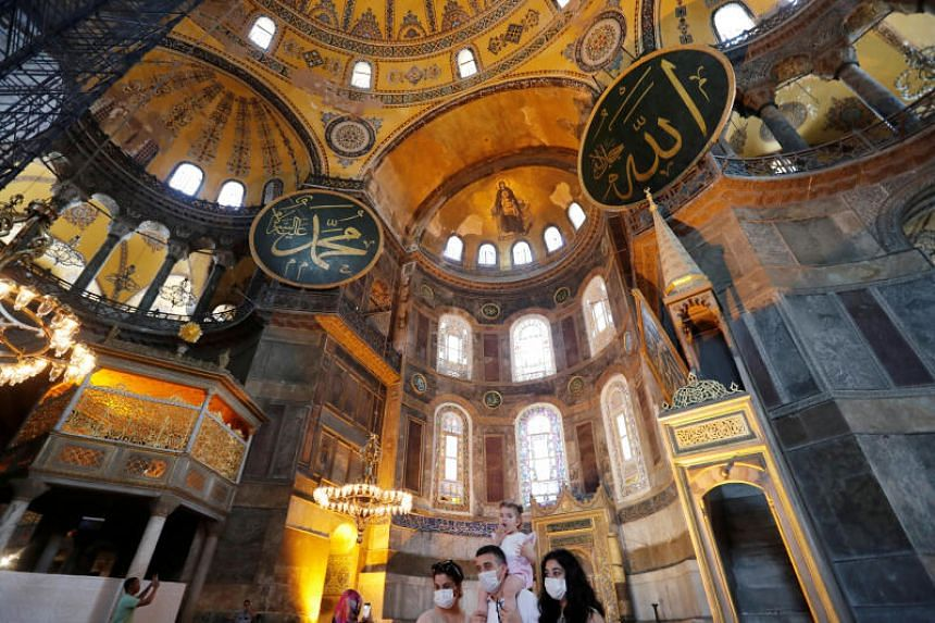Hagia Sophia was first constructed as a church in the Christian Byzantine Empire in the sixth century.