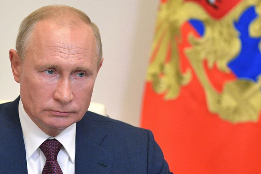 Putin attends a video conference on amendments to the Russian constitution, outside Moscow, July 3, 2020.