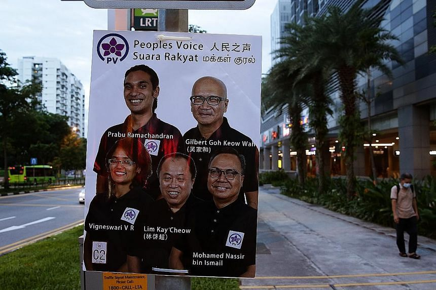 An election campaign poster for the Peoples Voice team contesting in Pasir Ris-Punggol GRC. The party says it will fight to ensure that Singaporeans have the best-paying jobs in the country. ST PHOTO: KEVIN LIM
