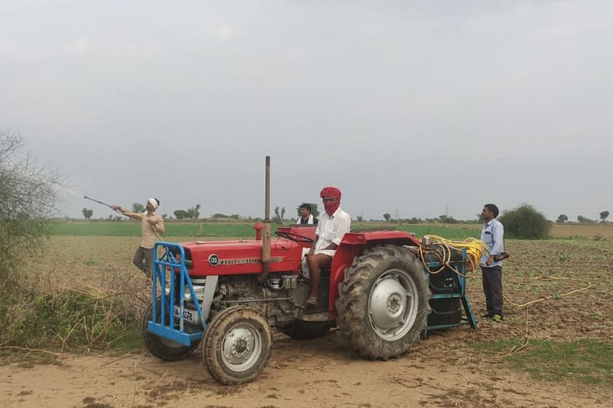 Workers conducting a locust control operation in India.