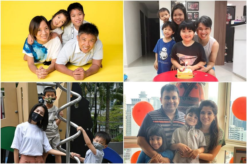 (Clockwise from top left) Families of Ms Serene Seah, Mr Dennis Dew, Ms Ruchi Parekh and Ms Serene Wu.