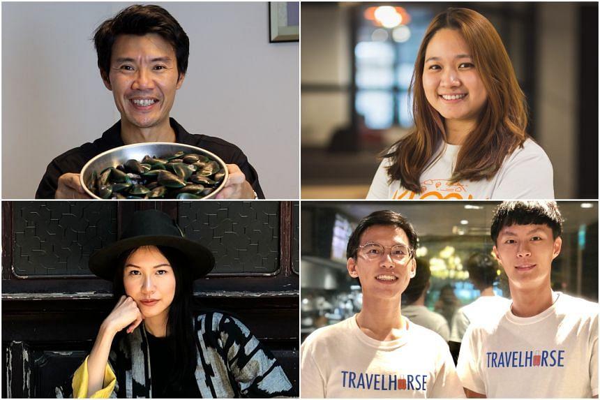 (Clockwise from top left) Robin Loh, Sarah Wan, Ken Lam and Scott Koh, and Krystal Tan.