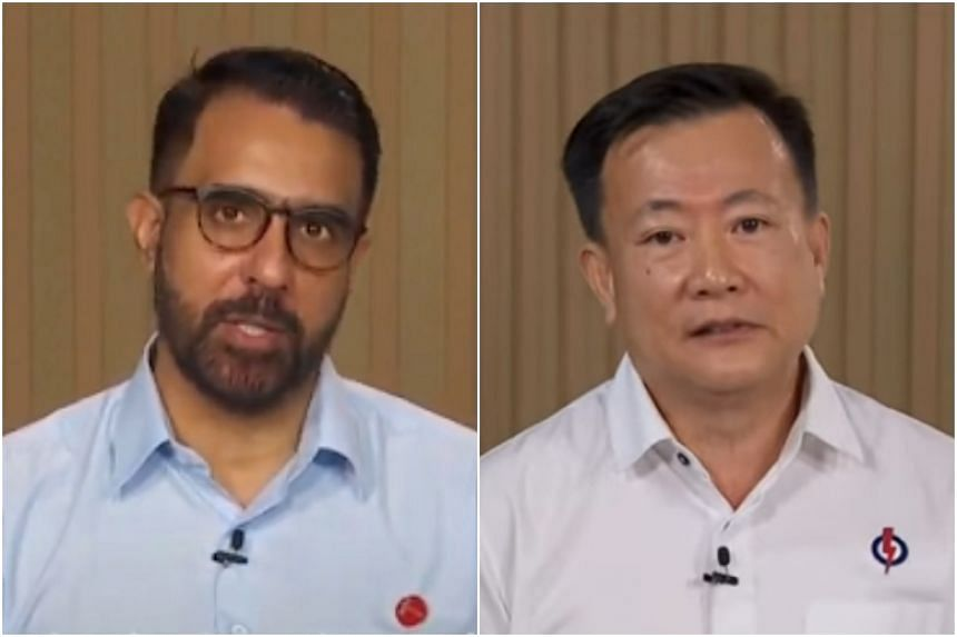 WP chief Pritam Singh (left) and the PAP's Bedok Reservoir-Punggol branch chairman Victor Lye during a televised broadcast on July 3, 2020.