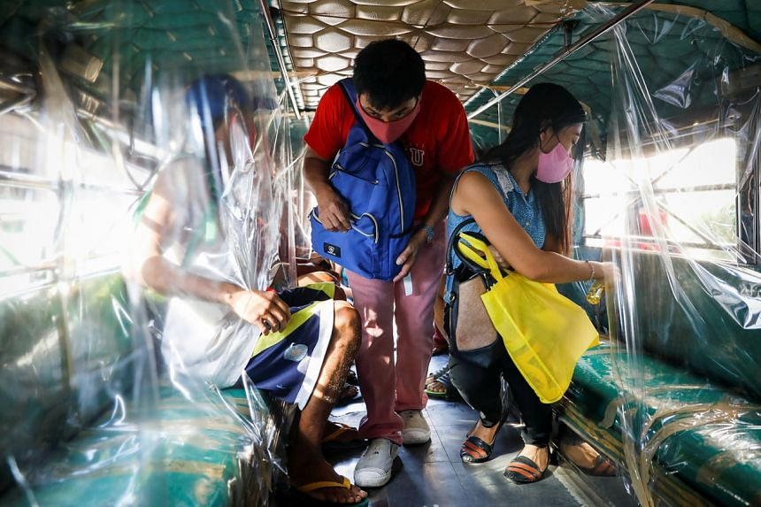 Jeepneys are operating at half capacity under strict social distancing rules.